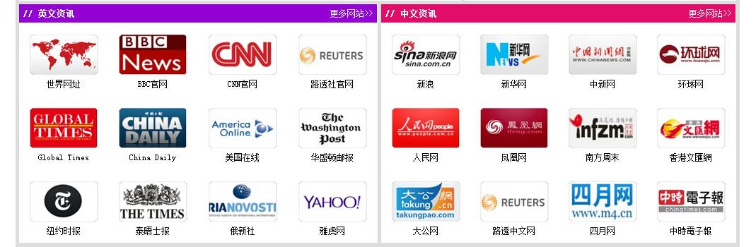 趣满网英文资讯与中文资讯版块